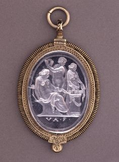 Intaglio; rock crystal; sacrifice to Hygieia; female figure seated on right on trunk, from which rises a single small branch; in extended left hand she holds a serpent; before her is altar by which stand two other female figures, one holding wreath; signed.