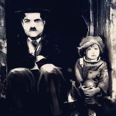 Charlie Chaplin Realistic drawing in Black and white 60x80