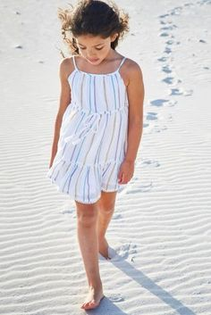 White Metallic Stripe Sundress (3-16yrs)