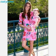 >> Click to Buy << Matching Mother Daughter Clothes Floral Printed Dresses Family Look Girls Women Half Sleeve Dress Clothing Outfits Mommy And Me #Affiliate