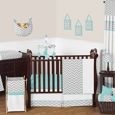 Sweet Jojo Designs Zig Zag Crib Bedding Collection in Turquoise/Grey; like the turquoise and grey, but would like some other colors added in