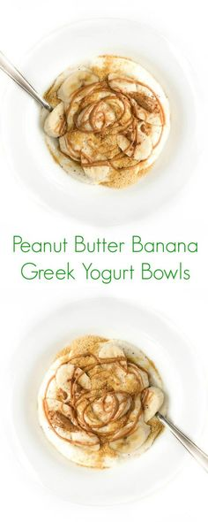 Peanut Butter Banana Greek Yogurt Bowls - Creamy vanilla Greek yogurt is topped with banana slices and melted peanut butter to create this fun and easy protein-packed breakfast.