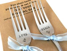 Stamped Forks Love Birds forks Wedding Cake Silverware Gift for Bride Groom Engagement Present Hand Stamped Recycled Flatware Wedded Couple Bride Gifts, Wedding Gifts, Wedding Cakes, Wedding Day, Father's Day Greetings, Father's Day Greeting Cards, Engagement Presents, Love Birds, Wedding Couples