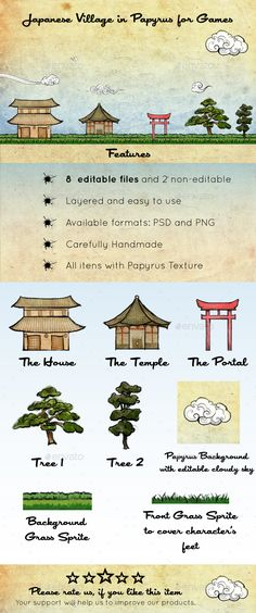Japanese Village in Papyrus Assets by fabricasupernova An artistic handmade game kit with tiles, elements and workmanlike background scenario. Full texturized with a beautiful and conce Kit Games, Ios, Pixel Art Games, 3d Texture, Game Icon, Animation, Environment Concept Art, Game Assets, Abstract Photography