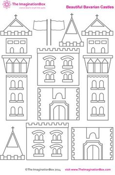 Creative travel friendly activities and printables for kids - Build you own imaginary castle, free PDF printable activity sheet - Creative Activities, Art Activities, Creative Ideas, Chateau Moyen Age, Castle Crafts, Art For Kids, Crafts For Kids, Château Fort, Activity Sheets