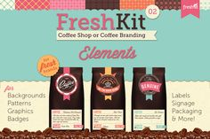 FreshKit 02 Coffee Cafe Elements ~~ FreshKit 02 Elements for Coffee Shops, Cafe's and Coffee Packaging is a brand identity kit containing graphic goodies for backgrounds, a lovely cream grungy texture, bright patterned tiles, badges, images, repeating scallops and a coffee package prototype.…