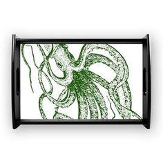 Dark green Vintage Wood cut Octopus Coffee Tray