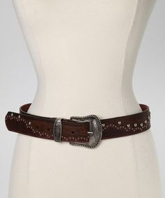 Love this Brown Studded Leather Belt by I Love Accessories on #zulily! #zulilyfinds