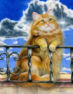 Cat Orange Tabby Clouds Realism Sunshine Small Original Art Painting #Realism