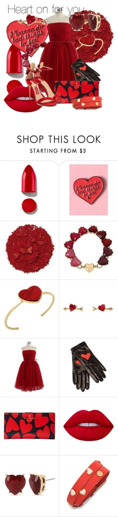 """""""Heart on for you"""" by disneybeauty95 ❤ liked on Polyvore featuring Rodin, Illamasqua, Betsey Johnson, Chicwish, Boutique Moschino, Kate Spade, Lime Crime, Tory Burch and Salvatore Ferragamo"""