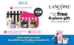 With any $37.50 Lancome purchase at Belk - choose your 7-piece Lancome gift. Spend $80 or more and also choose your skincare essentials bonus trio.  Online now, in stores tomorrow. Lancome Gift Set, Lancome Gift With Purchase, Get One, Skincare, Essentials, Gifts, Presents, Skin Care, Skin Treatments