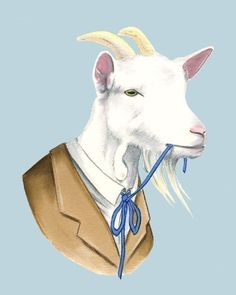 Who isn't intrigued by a billy goat in a sassy neck tie? My lovely friend Tiffany bought this for me framed, and I display it proudly on my piano.