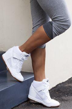 blue hour diy: Sneaker Wedges for Petite Girls - Short and Curvy Nike Wedge Sneakers, Nike Wedges, Sneaker Heels, Wedged Sneakers, Wedge Tennis Shoes, Platform Sneakers, Wedge Sneakers Style, Shoes Sneakers, Cute Shoes