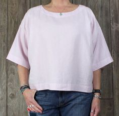 Nice Pink Pure J Jill Blouse M Petite MP size Linen Box Fit Loose Casual Career Top.