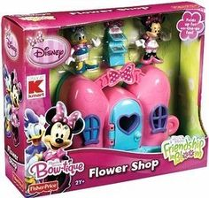 Minnie and Daisy are busy at their Flower Bowtique today; a lot of orders were placed for flower arrangements! Open the bow shaped playset to revea. Minnie Mouse Clubhouse, Mickey Mouse Toys, Toddler Toys, Kids Toys, Baby Toys, Disney Baby Nurseries, Baby Alive Doll Clothes, Princess Toys, Xmas Wishes