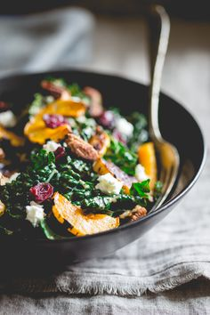 Lacinato Kale Salad with Roasted Delicata Squash, Chevre, Dried Cranberries and Sweet and Spicy Pecans