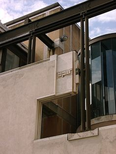 Headquarters of the Banca Popolare. Carlo Scarpa with Arrigo Rudi, who has completed the master's work after his death. the building was completed in 1981. Verona, Italy.
