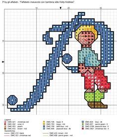 alfabeto maiuscolo con bambina stile Holly Hobbies P