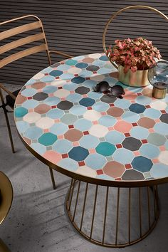 """The exceptional places are reserved for VIPs and the Kuala chair is made for you. With a contemporary design, the Kuala chair is the perfect example of the embodiment of """"class"""". Table Furniture, Furniture Design, Mosaic Tile Designs, Tile Tables, Restaurant Furniture, Cool Coffee Tables, Trendy Home, Furniture Collection, Table And Chairs"""