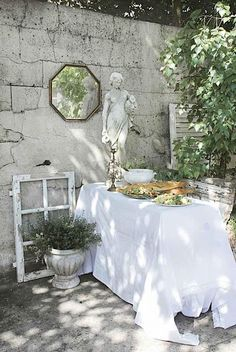 Gardening with white decor
