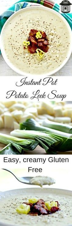 Instant Pot Potato Leek Soup is a warm creamy rich nourishing gluten free soup