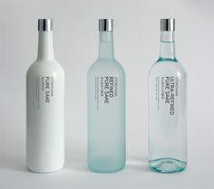 OTOKOYAMA Sake Collection / Glass Bottles / Packaging / Ideas / Inspiration / Typography Only / Minimalist / Minimal / Design / White / Blue / Bottle / Drink / Japan Beverage Packaging, Bottle Packaging, Pretty Packaging, Brand Packaging, Packaging Design, Simple Packaging, Japanese Packaging, Coffee Packaging, Product Packaging