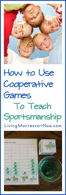 Have you been wondering how to help your child show good sportsmanship in games and sports? You'll find ideas in this post to help preschoolers on up become good sports, starting with cooperative games and Montessori ideas for teaching courtesy.