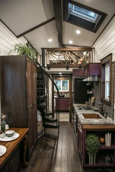 This is a beautiful Tudor-style tiny house on wheels by Tiny Heirloom. It was featured on a recent episode of their television series, Tiny Luxury which is on the HGTV/DIY Network. Luxurious… house Tudor-style Fairytale Tiny House by Tiny Heirloom Home Design, Tiny House Design, Home Interior Design, Design Ideas, Tiny Homes Interior, Small House Interiors, Luxury Interior, Design Design, Design Elements