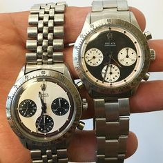 "Exotic Dials: The Vintage Rolex ""Paul Newman"" 6239. One black one white.  Which one do you like best?  or  Get the full scoop at BOBSWATCHES.COM  #rolex #rolexero #rolexpaulnewman #paulnewman #vrf #vintagerolex #vintagewatch #vintagerolexforum #rolexforum #mondani #gqstyle #daytona"