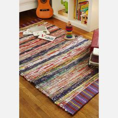 Recycled Fabric Striped Rug