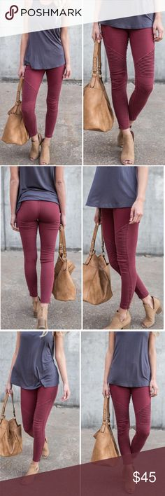 """Burgundy Moto Jeggings These trendy Fall moto jeggings feature an ankle zipper and stretchy waistband, ribbed knee detail. True to size. Follow size chart below for best fit. 60% cotton, 35% nylon, 5% spandex. Moto Pants Moto Leggings   Sizing ▪️S/M=4-8 ▪️L/XL=10-14 ▪️1X/2X=16-20 ▪️2X/3X=22-26  ▫️Add to Bundle"""" to add more items in my closet or """"Buy"""" to checkout here with your size.   ↓Follow me on Instagram ↓         @ love.jen.marie  ↓Etsy Design + Branding Shop↓…"""