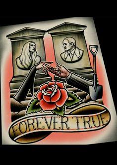 Gomez and Mortica Adams Forever True Tattoo flash art.