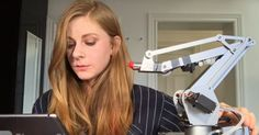 """This Woman Builds a Lipstick Robot To """"Help"""" With Morning Routine, And Is Hilarious! Robot Videos, The Future Is Now, Youtube Stars, Pick One, Funny People, Best Funny Pictures, Feel Better, Sephora, All About Time"""