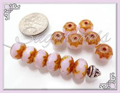 12 Persian Rose Pink Fire Polish Puffy Rondelle Beads by sugabeads, $3.00