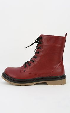 Bamboo Notch-02 Lace Up Combat Boots RED