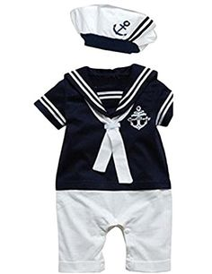 Baby Boy Girl Anchor Sailor Navy Striped Photo Props RomperHat Outfit >>> Read more  at the image link.Note:It is affiliate link to Amazon.