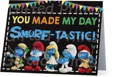 Folded Smurfs Thank You Card Birthday Thank You Cards, Printable Thank You Cards, Themes Free, You Make Me, Customer Service, Coupon Codes, Smurfs, Digital, Customer Support