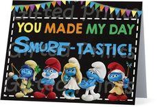 Folded Smurfs Thank You Card Birthday Thank You Cards, Printable Thank You Cards, Themes Free, You Make Me, Customer Service, Smurfs, Digital, Prints, Customer Support