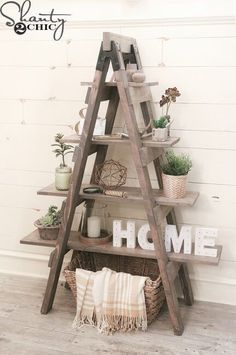 50 best diy interior wood projects design ideas for home Rustic Blanket Ladder, Rustic Blankets, Rustic Ladder, Diy Ladder, Ladder Shelf Decor, Ladder Bookshelf, Wooden Bookcase, Bookshelf Ideas, Rustic Wood