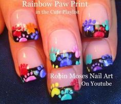#Animal #paw #prints up for Monday! #nails #nailart #design #howto #diy #nail #art #rainbow #dog #cat #feet #cute #tutorial by melisa