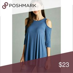 The Cindy Cold Shoulder Swing Top Cute Cold Shoulder Swing Top in Blue. 95% Rayon 5% Spandex.                ____________________________________  [Trindy Clozet Boutique Policies]  ✅ Next Business Day Shipping (possibly same day) ✅ Retail prices are firm unless bundled.  ❌ No trades.  Find more styles on our website@  Spreesy.com/trindyclozet  Insta trindy_clozet FB TrindyClozet Twitter trindyclozet Tops Blouses