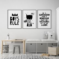 Nursery decor boys rule print Scandi nursery print kids bedroom print monochrome nursery wall art kids wall decor children wall art - Be Batman - Ideas of Be Batman - Black and white nursery prints. Boys rule Little batman Be a superhero poster.