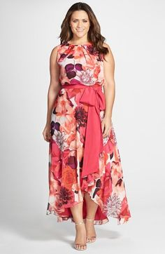 Eliza J Floral Print Sash Tie Sleeveless High/Low Hem Maxi Dress (Plus Size)