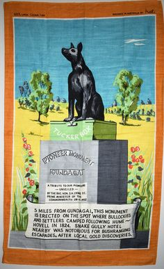 Dog on the Tuckerbox Tea Towel - Vintage Gundagai New South Wales - New Old Stock!