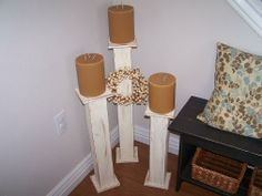 Drab to Fab: DIY candlesticks made with scrap wood. Floor Candle Holders, Candlestick Holders, Candle Stands, Jar Candles, Scented Candles, Primitive Crafts, Wood Crafts, Cute Crafts, Diy Crafts