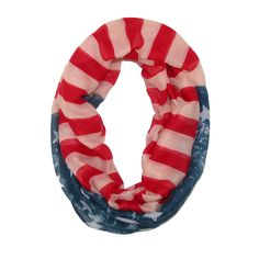 David & Young Womens Distressed Pop Art American Flag Infinity Loop Scarf. Lightweight and sheer