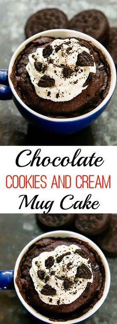 Chocolate Cookies and Cream Mug Cake. Single serving cake ready in minutes! Chocolate Cookies and Cream Mug Cake. Single serving cake ready in minutes! Mug Recipes, Baking Recipes, Cake Recipes, Dessert Recipes, Steak Recipes, Mug Cake Microwave, Microwave Recipes, Single Serve Cake, Mugs
