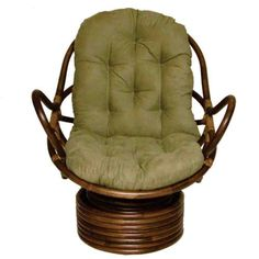 International Caravan Rattan Coil Base Swivel Rocker with Micro Suede Cushion, Saddle Brown Papasan Cushion, Papasan Chair, Chair Cushion Covers, Chair Cushions, Swivel Rocker Chair, Rocking Chairs, Suede Fabric, Unique Furniture, Recycled Furniture
