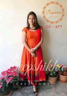 DC - Beautiful orange color floor length anarkali dress with net dupatta.For queries kindly WhatsApp : 9059683293 . Kalamkari Dresses, Ikkat Dresses, Designer Anarkali Dresses, Designer Dresses, Designer Wear, Deepshikha Creations, Skirt Outfits Modest, Long Gown Dress, Dress Neck Designs