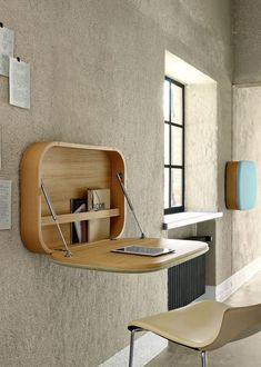 Contemporary secretary desk / oak / wall-mounted / with storage NUBO by Gamfratesi Ligne Roset